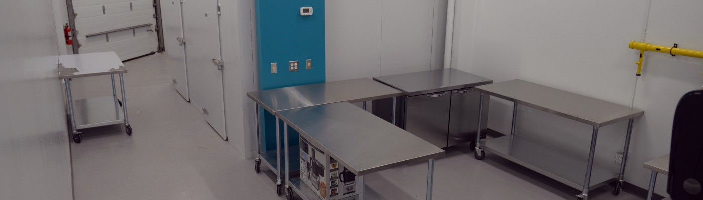 Prep Kitchen B stainless steel tables