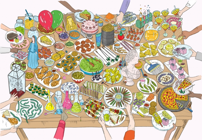 illustrations of a table full of plates showing odd shapes and sizes of different food items. nothing looks normal, especially the insects skewered.
