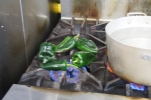 Charring poblano peppers