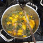 Peach and Poblano Chutney ready for reducing.