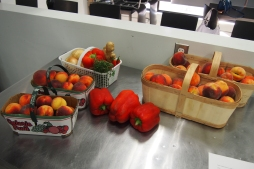 Produce prepared for the canning class
