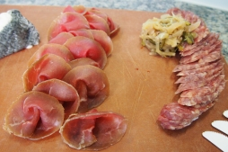 Charcuterie board by Dave Neil provided by The Piggy Market where you can buy these wonderful meats.