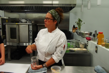 Jo-Ann Laverty, instructing at The Cauldron Food School.