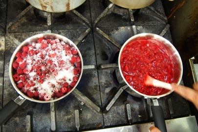 Raspberry jam cooking.