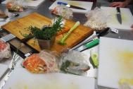 Cutting boards and cut veggies
