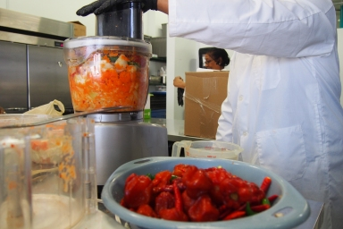 Rise and Shine Products processing hot peppers.