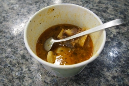 David was given a sample of Creole Beef Stew. So yummy!!