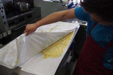 Hand made pasta for the lasagna.